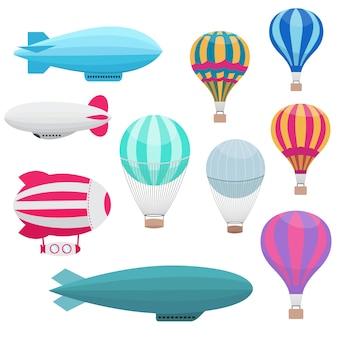 Cartoon hete lucht ballonnen vector set