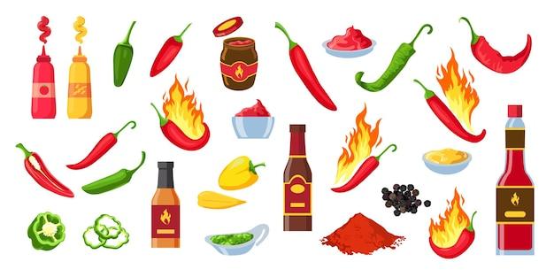 Cartoon hete saus. chili ketchup flessen en potten, wasabi en mosterd. souce spatten, pittige dip en cayennepeper met vlammen vector set. peper in vuur, kruiden gerechten of maaltijd