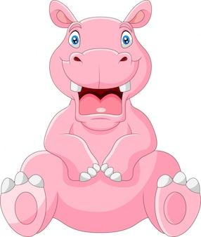 Cartoon hippo met open mond