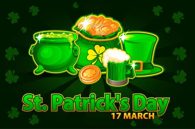 Cartoon hoed, bierglas, munt en geldzak en pot met toverdrank. illustratie voor gelukkige st. patrick dag. wenskaart, poster, banner. objecten op een aparte laag