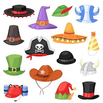 Cartoon hoed komische pet voor het vieren van verjaardagsfeestjes of chrisrmas met hoofddeksels of hoofdtooi-illustratieset van grappige hoofddekselcowboy