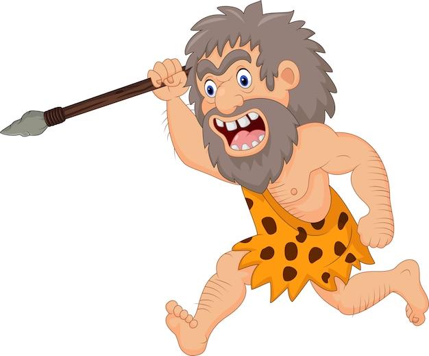 Cartoon holbewoner jagen met speer