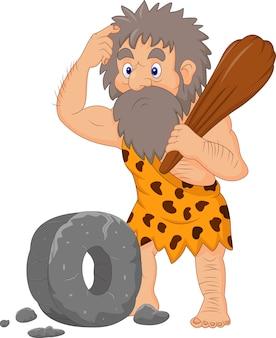 Cartoon holbewoner met stenen wiel