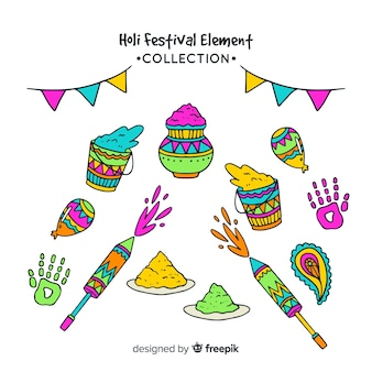 Cartoon holi festival element pack