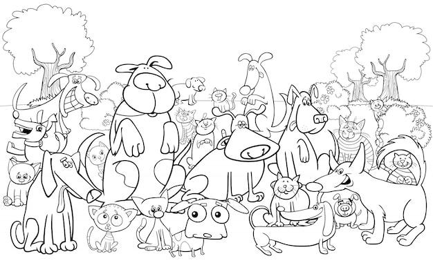 Cartoon hond en katten tekens kleurenboek