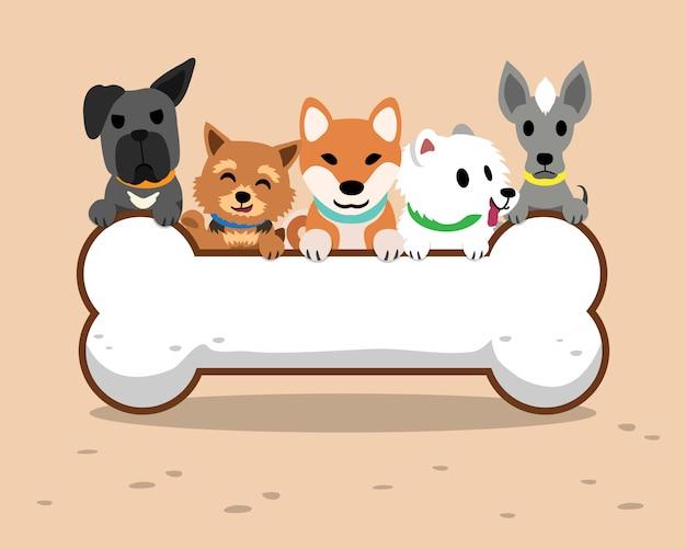 Cartoon honden en groot bot