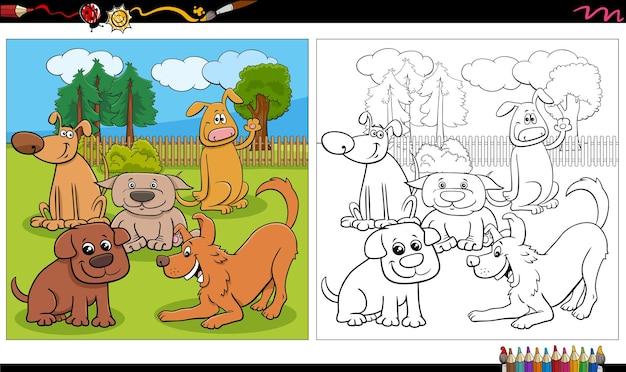 Cartoon honden en puppies groep kleurboek pagina