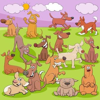 Cartoon honden en puppy's groep grappige tekens