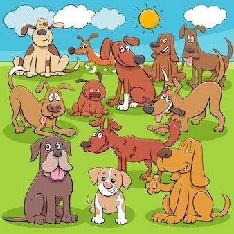 Cartoon honden en puppy's tekens groep