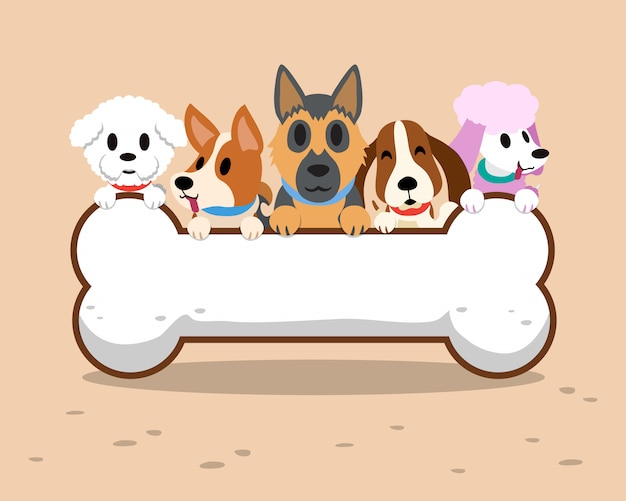 Cartoon honden met botten teken