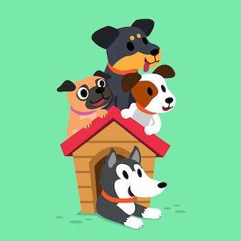 Cartoon honden met een hondenhok