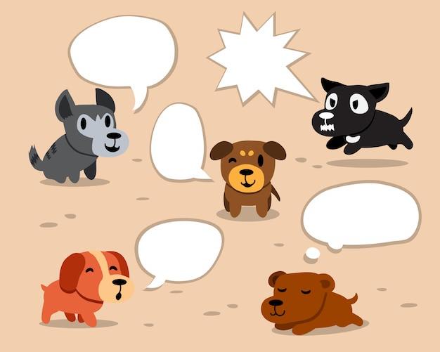 Cartoon honden met witte tekstballonnen