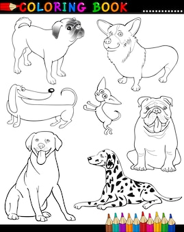 Cartoon honden voor kleurboek of pagina