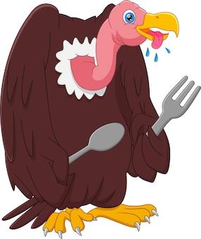 Cartoon hongerige gier met lepel en vork