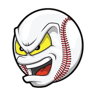 Cartoon honkbal boos gezicht