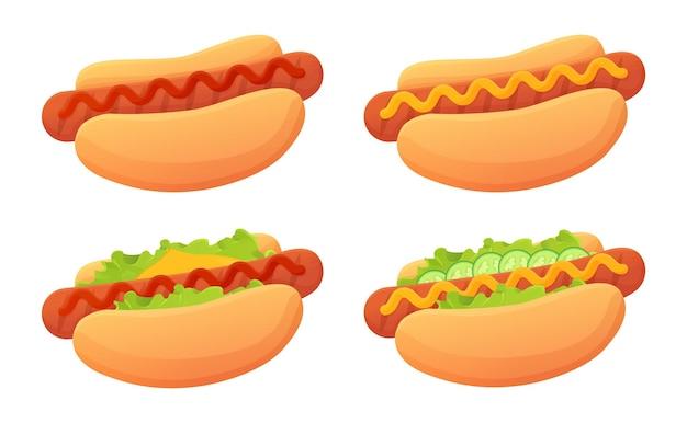 Cartoon hotdog set broodje met worst en ketchup en mosterdsaus garnituur street food