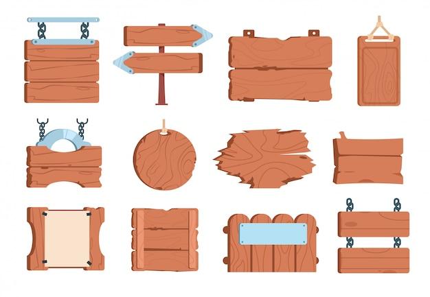 Cartoon houten bord. teken bord frame banner houten plank oude vintage borden wegwijzers. spel
