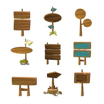 Cartoon houten borden en banners vectorillustraties