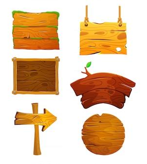 Cartoon houten borden set