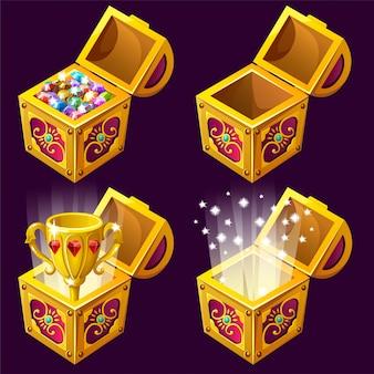 Cartoon houten isometrische kisten met schatten