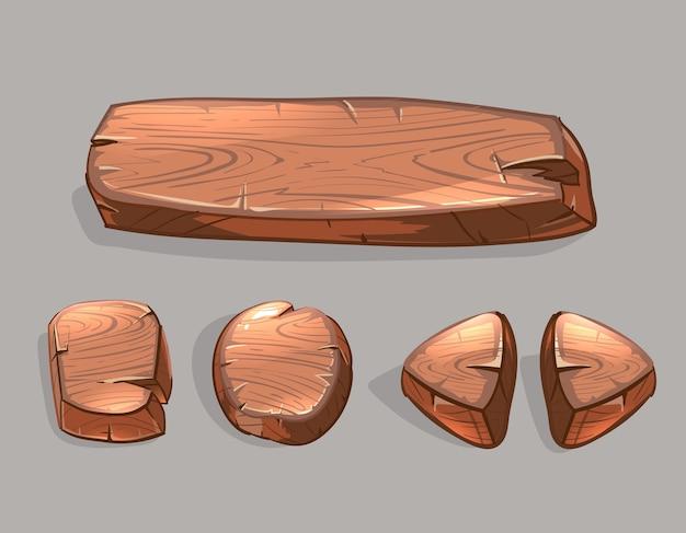 Cartoon houten knoppen vector set. ui-spelillustratie, langwerpig bord en pijl