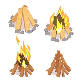 Cartoon houten logboeken en kampvuur set