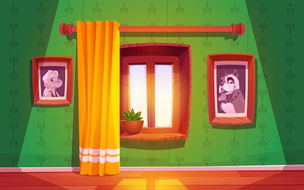 Cartoon houten raam met gordijn
