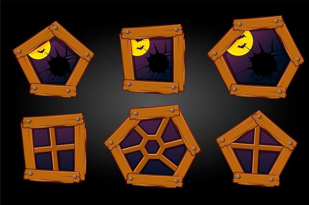 Cartoon houten ramen en gebroken, eng halloween-uitzicht. vectorreeks verschillende oude vensters en maan met vleermuizen.