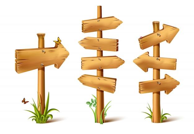 Cartoon houten rustieke zingt in pijl van richting.