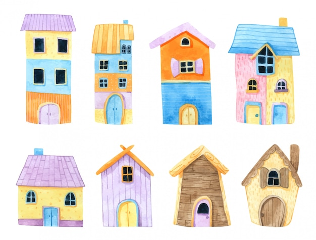Cartoon huis aquarel