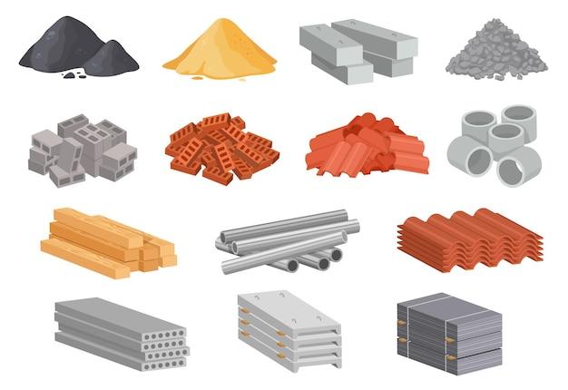 Cartoon huis bouwmaterialen industriële bouw levert vector set