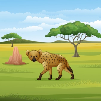 Cartoon hyena in de savanne