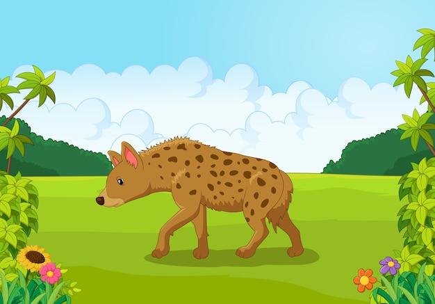 Cartoon hyena vanaf de zijkant