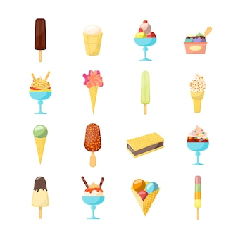 Cartoon ice cream icon set verschillende vorm
