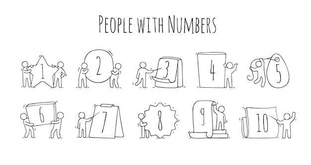 Cartoon iconen set schets kleine mensen met getallen. doodle schattige arbeiders met borden in verschillende vormen. hand getekend