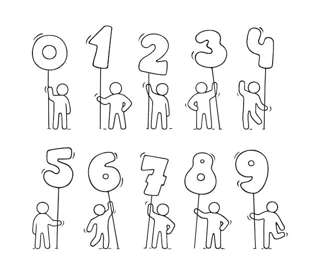 Cartoon iconen set schets kleine mensen met getallen. hand getekend