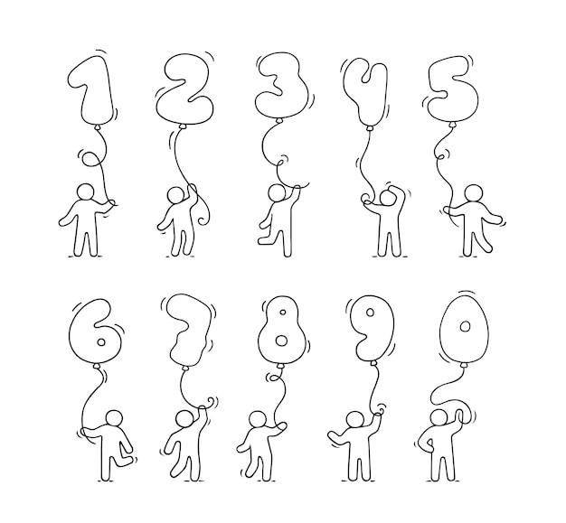 Cartoon iconen set schets kleine mensen met getallen. hand getrokken illustratie voor onderwijs en feestontwerp.