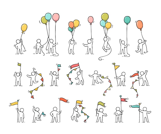Cartoon iconen set schets weinig mensen met partij symbolen.
