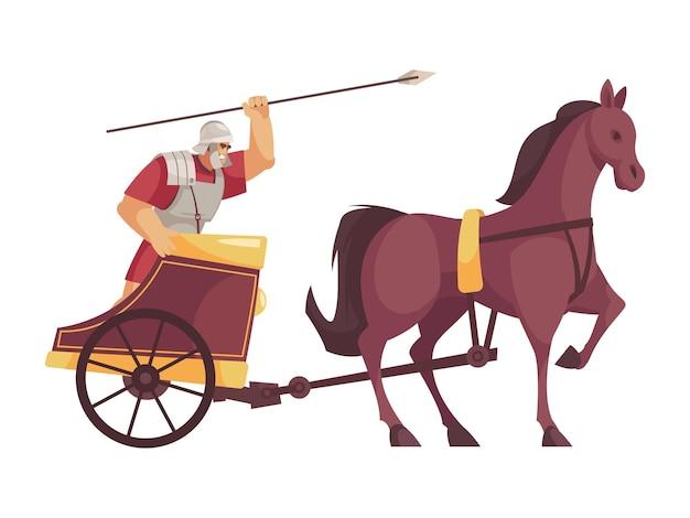 Cartoon icoon met gladiator rijden kar