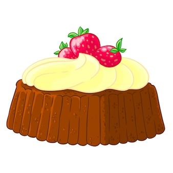 Cartoon icoon van een cupcake met citroen meringue en aardbeien.