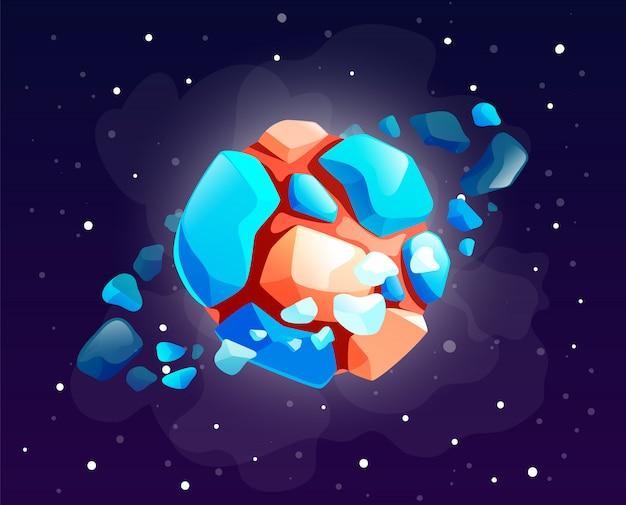 Cartoon icoon van rock planeet met bewegende stenen in een baan rond, melkwegthema, pictogram voor spelgebruik