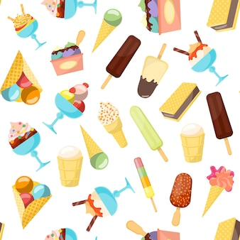 Cartoon ijs achtergrondpatroon andere vorm voor cafe en restaurant menu platte ontwerpstijl. vector illustratie