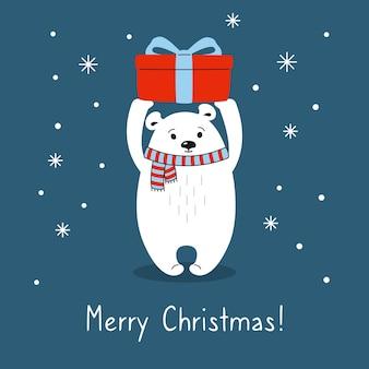 Cartoon ijsbeer met geschenkdoos