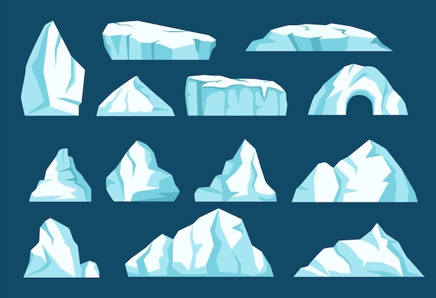 Cartoon ijsbergen antarctische ijsgletsjers arctische rotsen drijvende ijsberg vector set