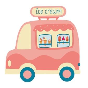 Cartoon ijscowagen. straatvoedsel caravan aanhanger. kleurrijke vectorillustratie, leuke stijl, geïsoleerd op een witte achtergrond