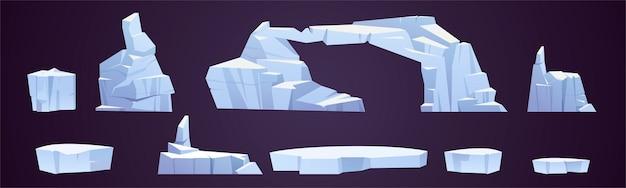 Cartoon ijsschotsen, bevroren ijsbergstukken, gletsjers in verschillende vormen