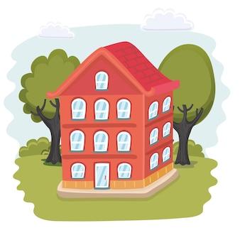 Cartoon illustation van huisontwerp Premium Vector