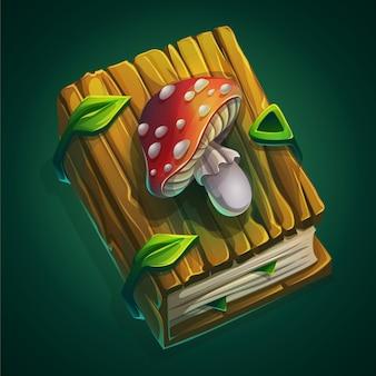 Cartoon illustratie dik boek met een houten kaft en vliegenzwam