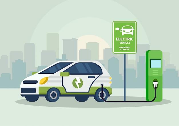 Cartoon illustratie elektrische auto bij het opladen
