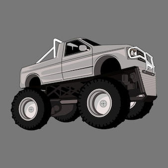 Cartoon illustratie monster truck grote voet